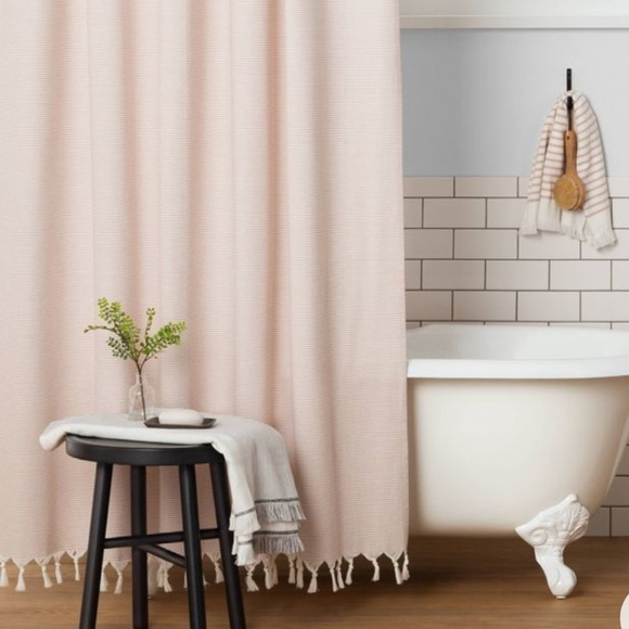 Hearth and hand pink stripe shower curtain NWT